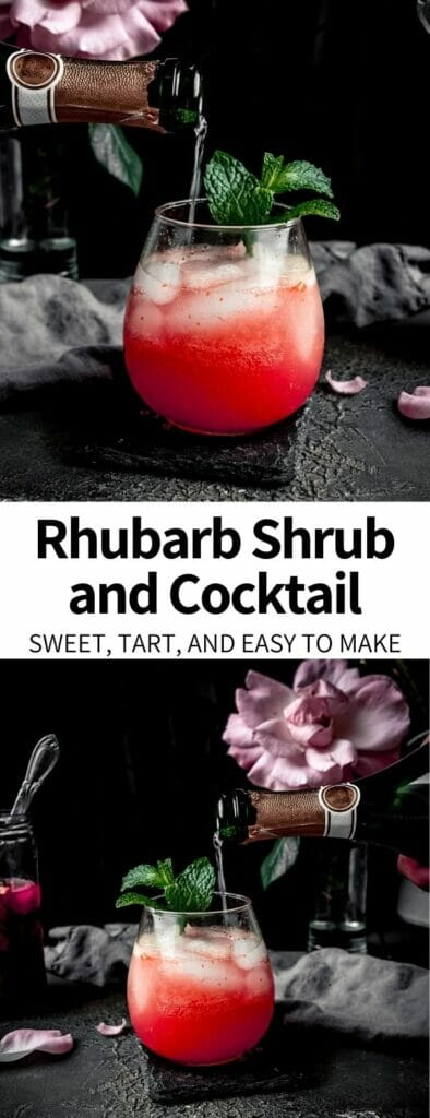 This Rhubarb Shrub Recipe is a perfect way to celebrate spring flavors. Made with just a few simple ingredients, it is a fresh, tart, and bright addition to many drinks (alcoholic or non).