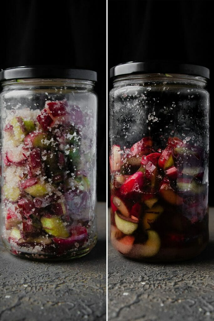 side by side view of rhubarb in a glass jar before and after liquid has released