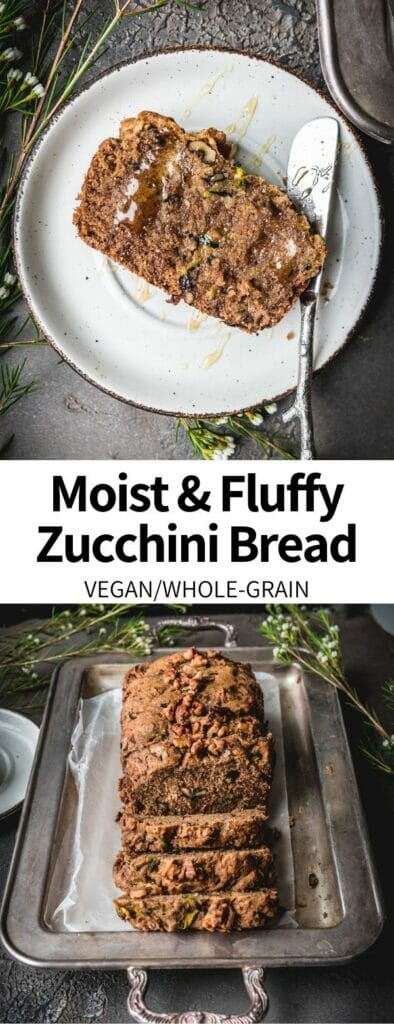 This Plant-Based Zucchini Bread Recipe is a simple snack that's perfect for using up fresh squash! Minimal prep time is required for this easy quick bread, making it perfect for midweek snacking or a healthy breakfast. Customizable and whole grain!