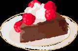 Illustration of chocolate cake with raspberries