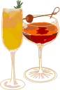 Illustration of two cocktail glasses