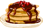 Illustration of pancakes with syrup