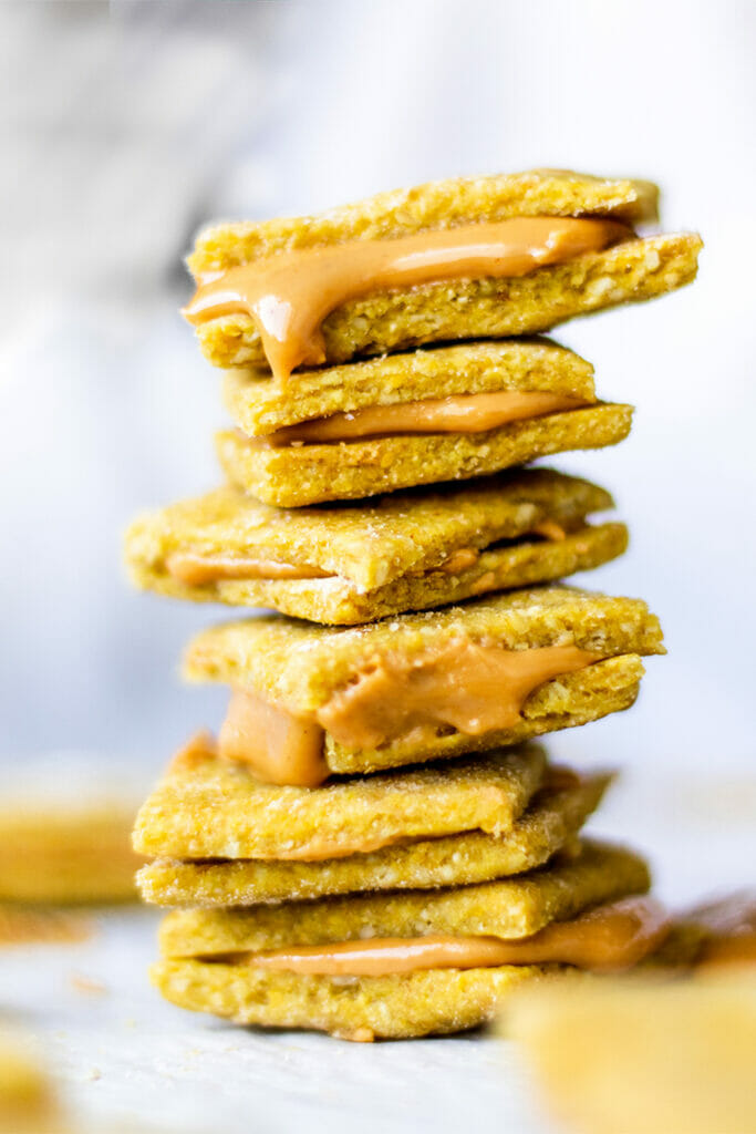 stack of vegan peanut butter cheese crackers