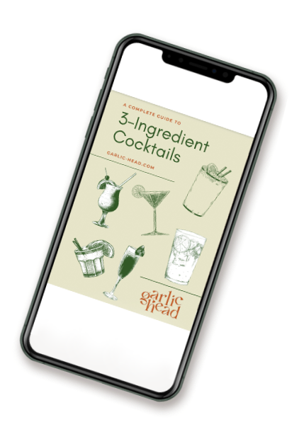 """iPhone X displaying Garlic Head's """"3-Ingredients Cocktails"""" e-Book"""