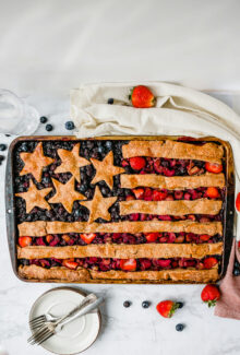 american flag slab pie on a marble table, overhead shot