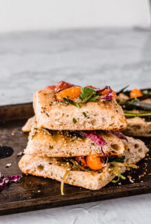 stack of quick and easy focaccia bread homemade
