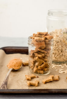 glass jar of homemade dog treats on a tray with a spoon of peanut butter