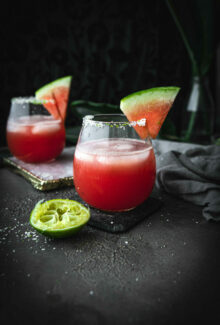 salted watermelon margarita in a short glass